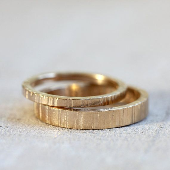 Solid 14k Gold Tree bark wedding ring set – Jenn's Jewel