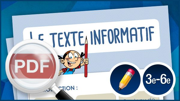 Cette affiche, à imprimer en couleur sur du papier format « ledger », sera utile pour enseigner la structure d'un texte informatif aux élèves du 2e et du 3e cycle. – ou – Thème: Aucun thème Niveaux: 3e, 4e, 5e, 6e Domaines: Écriture 1 page Suggestions!