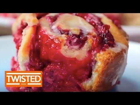 Glazed Raspberry Cheesecake Swirl Buns | Twisted - YouTube