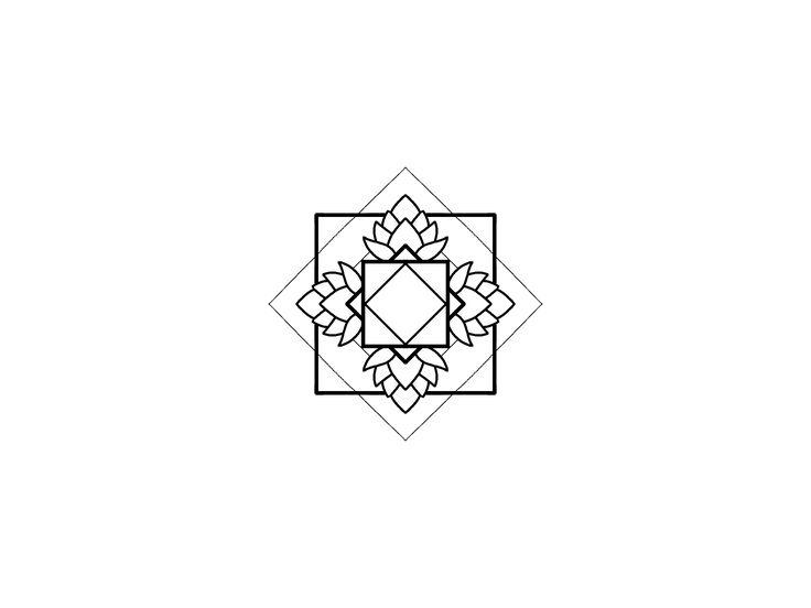 Geometric blackwork mandala design. Linework squares.