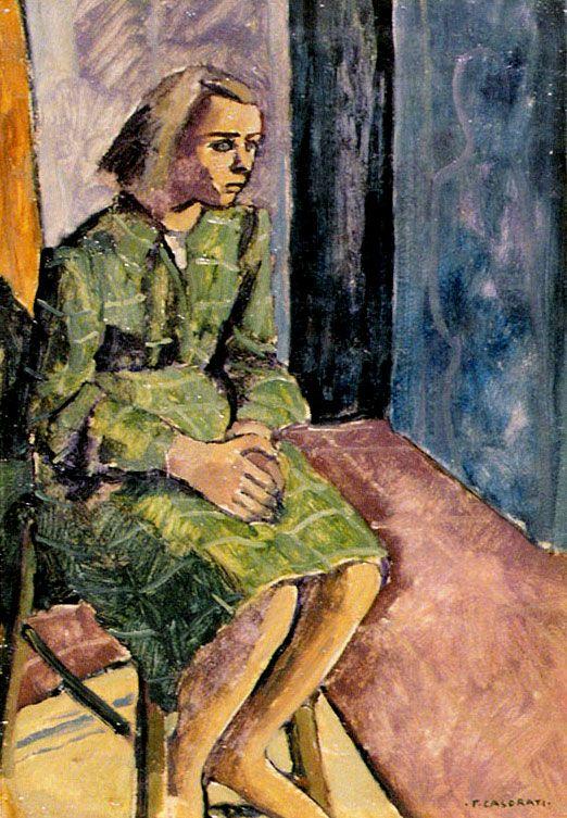 Felice Casorati. Ragazza in verde, 1941.