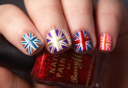 Union Jack Nail Art   the tutorial on this page is the best i've read for union jack. makes it almost easy. love the color combinations here.