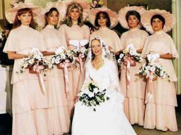106 best ugly bridesmaid dresses images on pinterest bridesmade welcome to my as if pink layered dresses werent enough add huge ridiculous hats in the mix junglespirit Choice Image