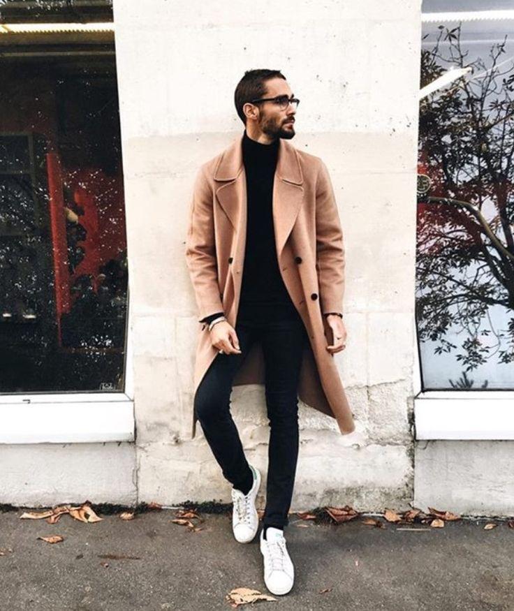Street style man Manteau camel