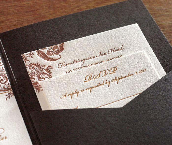 I'm in love with this floral letterpress wedding pocket folder invitation by invitations by ajalon http://invitationsbyajalon.com/gallery/allison.html