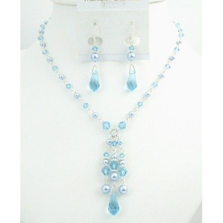 Prom Jewelry Very Beautiful Blue Pearls & Aquamarine Crystals Jewelry