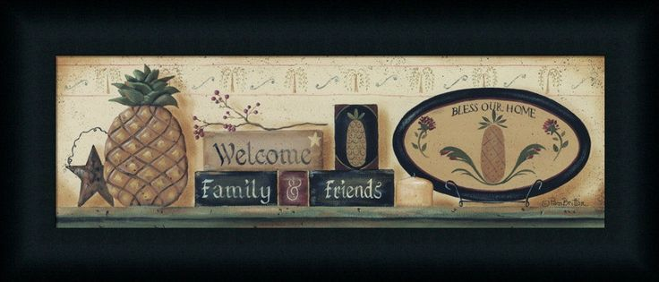 Welcome Friends and Family by Pam Britton Primitive Country Framed Art Print | eBay