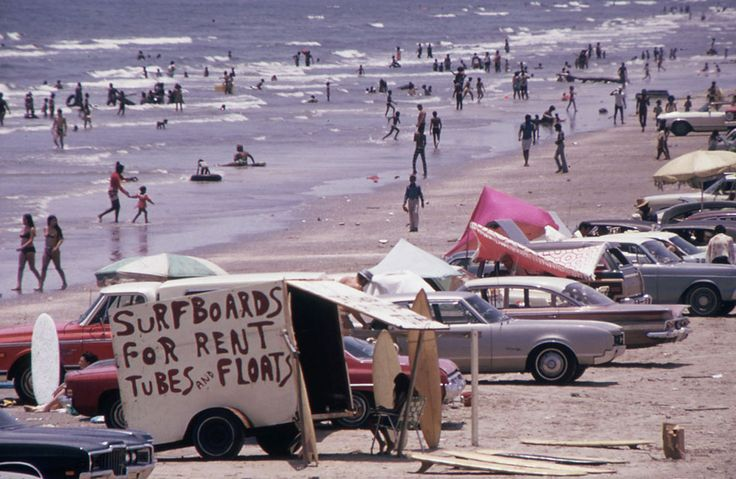 Galveston's West Beach on the Gulf Of Mexico draws huge crowds, July 1972. From America in the 1970s: Texas - In Focus - The Atlantic