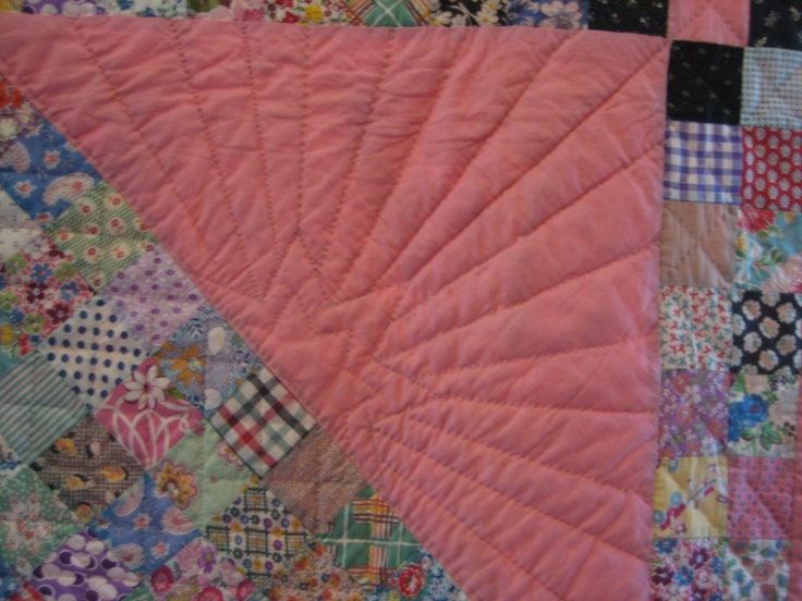 Close-up of quilting/marking of the Medallion Quilt.