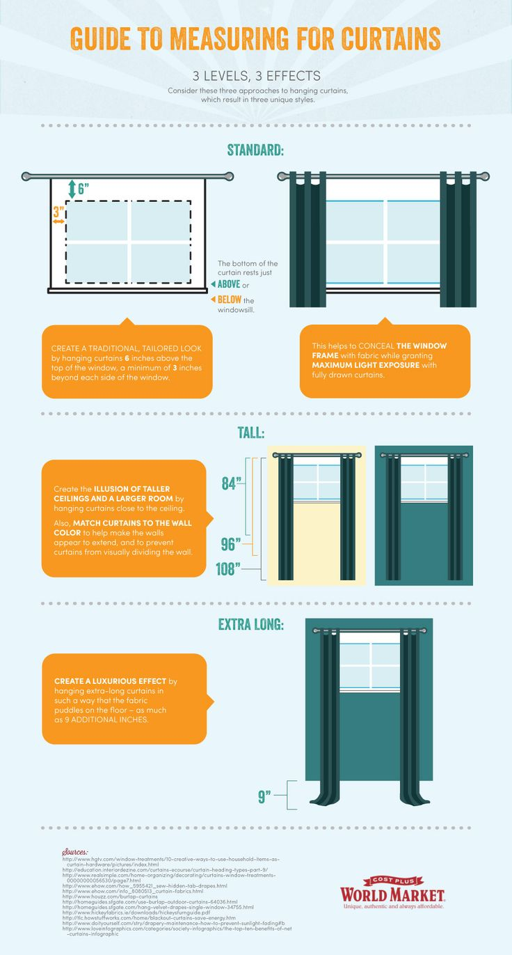 Curtains 101: Measuring Guide. Consider these three approaches to hanging curtains, which result in three unique styles. #DiscoverWorldMarket