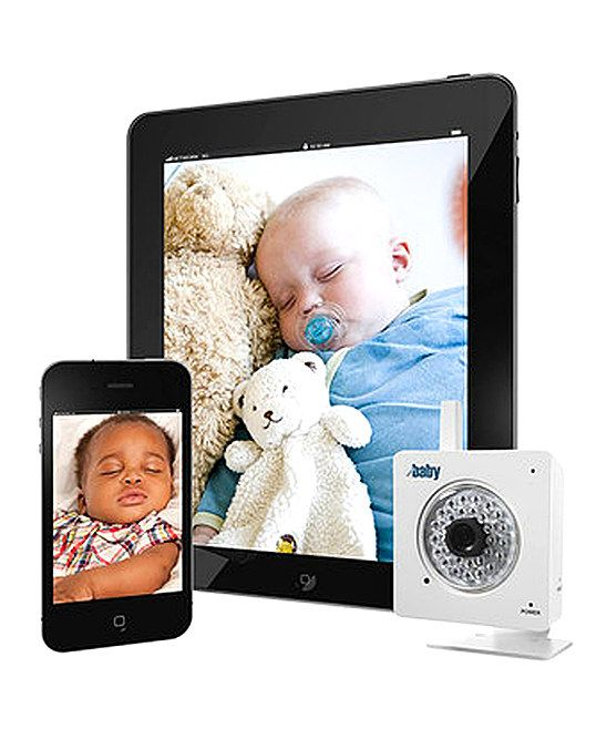 Check in on Baby from anywhere! The innovative WiFi Baby 2.0 camera (in the latest 2013 version!) acts like a nanny cam and wirelessly connects to a homes WiFi network, sending password-protected video and audio to iPads, iPhones, Android devices, Macs and PCs. Infrared night vision too.