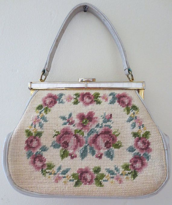 50s+Pastel+Flower+Needle+Point+Purse+by+NorthernGold+on+Etsy,+$22.00