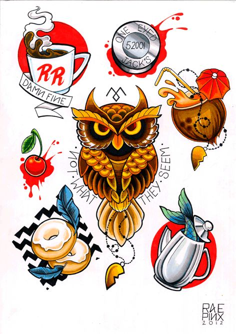 Twin Peaks tattoo flash from Rea Pinx Custom Tattoos