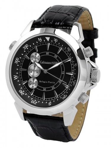 """€199.00        Heren model met Citizen JS 55 (quartz)      Compleet RVS platina-glanzend (Rhodium) met exclusieve modelgravering      """"zwarte"""" wijzerplaat      Verhoogde zilveren uren indicatoren      Interne kompas ring, draaibaar over de tweede stalen kroon op 10-uur positie      Verticale chronograaf (stopwatch met 24 uur, 30 minuten en seconden)      Krasbestendig sterk horlogeglas      Roestvrijstalen behuizing met gravure van het referentienummer CM-RP-09      zwart lederen band"""