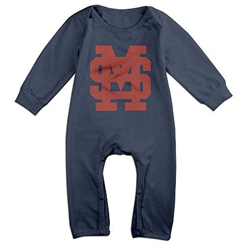 PCY Newborn Babys Boys  Girls Mississippi University Bulldogs Long Sleeve Bodysuit Outfits For 624 Months Navy Size 12 Months * Want to know more, click on the image.