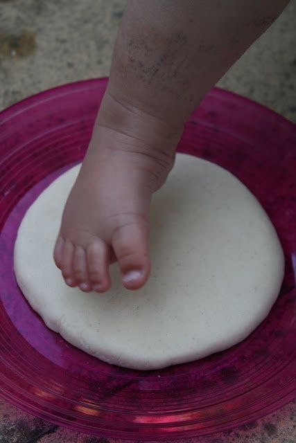 1/2 cup salt, 1/2 cup flour, 1/4 cup (give or take) water.  Knead until dough forms.  Make impression.  Bake at 200 for 3 hours. Do every summer and make a stepping stone path :)