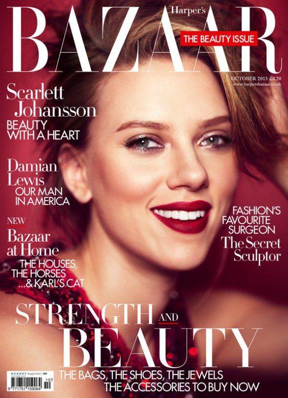 Scarlett Johansson Covers Harper's Bazaar UK October 2013 ...