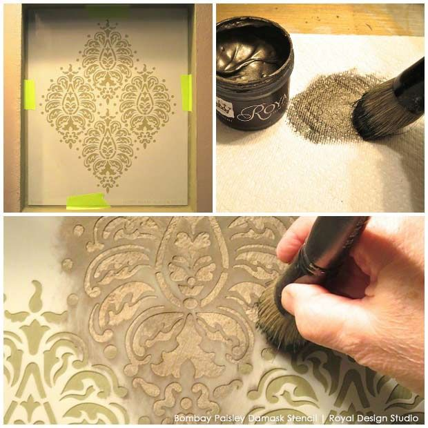 Perfectly Paisley DIY Stencil How To Tutorial: A Stenciled Niche Accent Wall with Royal Design Studio Stencils