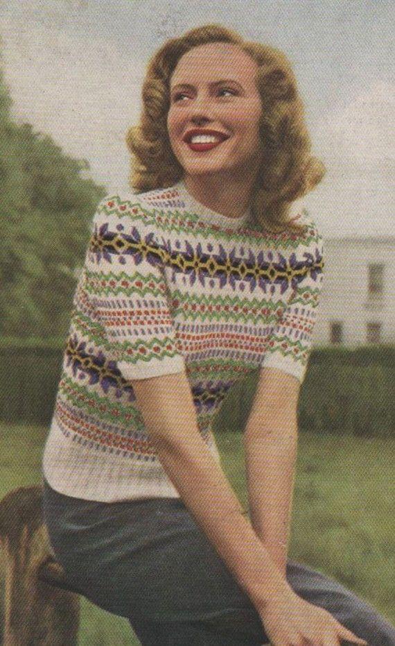 Vintage Fair Isle Knitting Pattern Book circa 1940s sweater war era color photo print ad ~