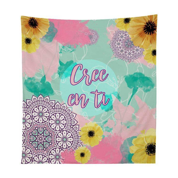 Tapestry floral cree en ti Xpodisain shop: Este tapestry esta hecho de tela sublimada con tintas ecológicas. Es el accesorio ideal para tu habitación. Utilízalo para adornar tu pared, incluso para llevarlo a la playa o como manta de picnic. 100% poliéster.Color, multicolor.Tamaño, 130 x 150 cm.Hecho en Viña del Mar, Chile.