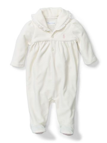 Baby Girl Cotton-Blend Velour Coverall - Baby Girl All-in-Ones - Ralph Lauren UK