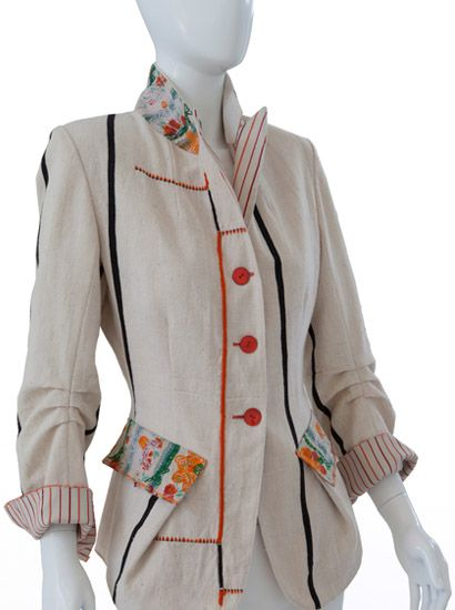 Indalia Fashion - Asian and Italian fabrics combined with Italian tailoring - interesting details on this one.