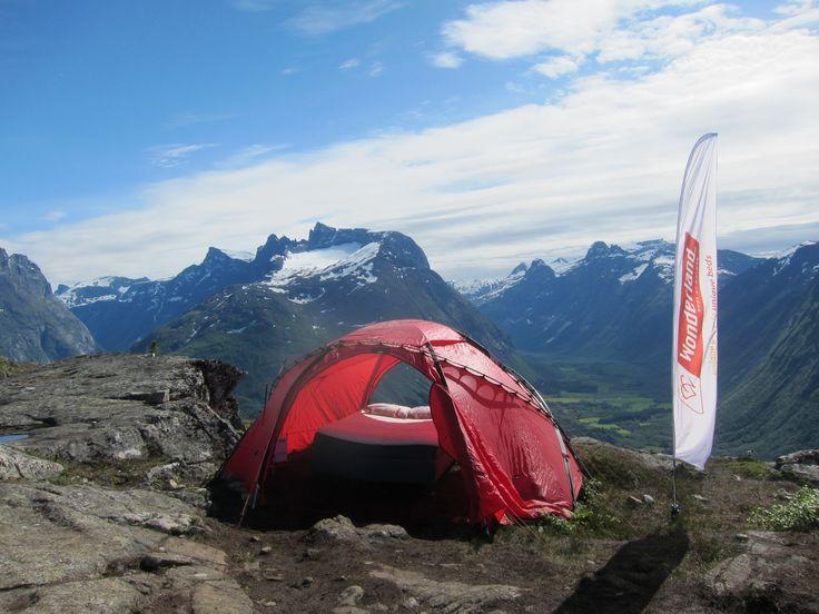 Wonderland beds at the top of mountain Nesaksla during the Norwegian Mountain Festival, Åndalsnes, Norway.  Trollwall, Romsdalshorn, Trollstigen, Trollveggen.