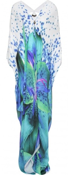 Roberto Cavalli Orchid Print Silk Caftan Dress in Blue (white) - Lyst