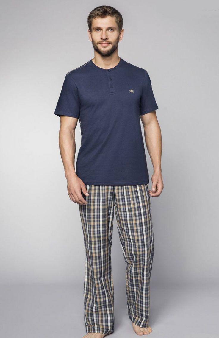 Henderson Imago 33769-90X piżama Wygodna propozycja bielizny męskiej, bluzka wykonana z gładkiej bawełny, zapinana z przodu na trzy guziki
