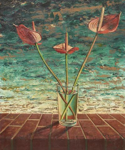 Vladimir Griegorovich Tretchikoff (South African, 1913-2006) Still life with Anthuriums