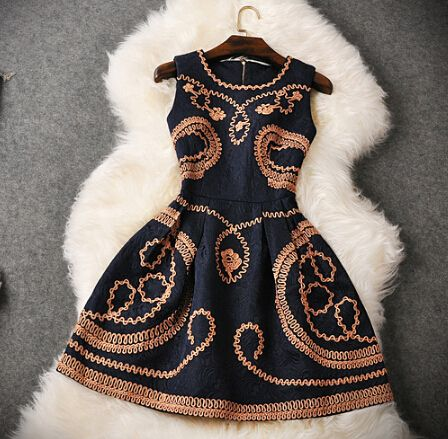 New women embroidered vest dress FG30102JH
