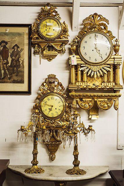 Golden Wall Clocks, Georgian Antiques, Edinburgh