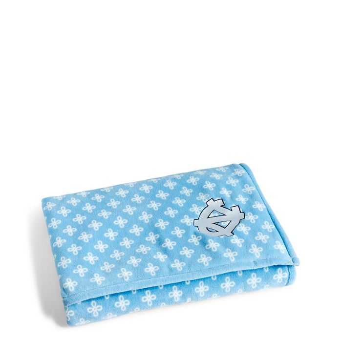 Image of Collegiate XL Throw Blanket in Car. Blue/White Mini Concerto with UNC Logo