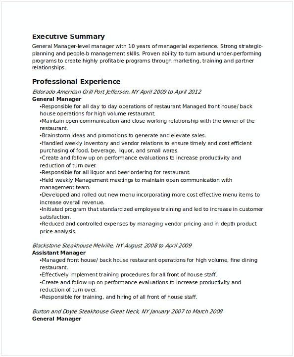 Restaurant General Manager Resume 3 Find The Things That You Need