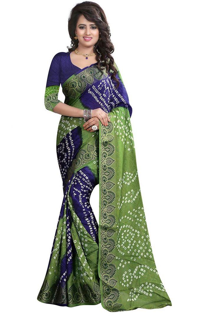 #Parrot Green And Blue Jacquard #Silk #Bandhej #Sari #nikvik  #usa #designer #australia #canada #freeshipping #dress #saris