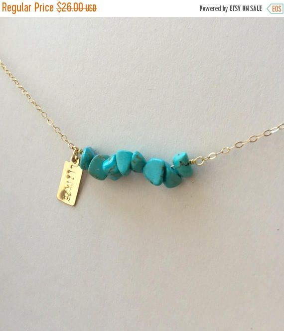 UITVERKOOP gepersonaliseerde Turquoise Bar ketting eerste ketting Turquoise Jewelry bruidsmeisjes geschenken Turquoise kralen Bar ketting