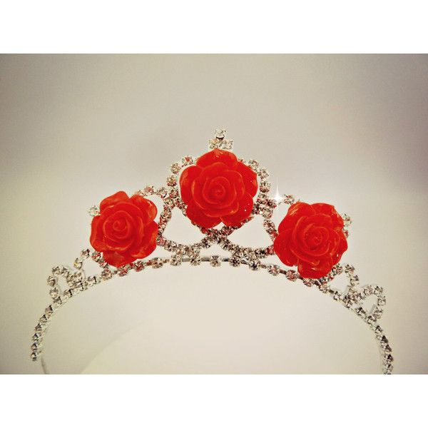 PRINCESS BELLE TIARA ,The Beauty And The Beast Belle Red Rose Tiara,... (£18) ❤ liked on Polyvore featuring costumes, red costumes, adult belle costume, role play costumes, princess belle costume and adult role play costumes