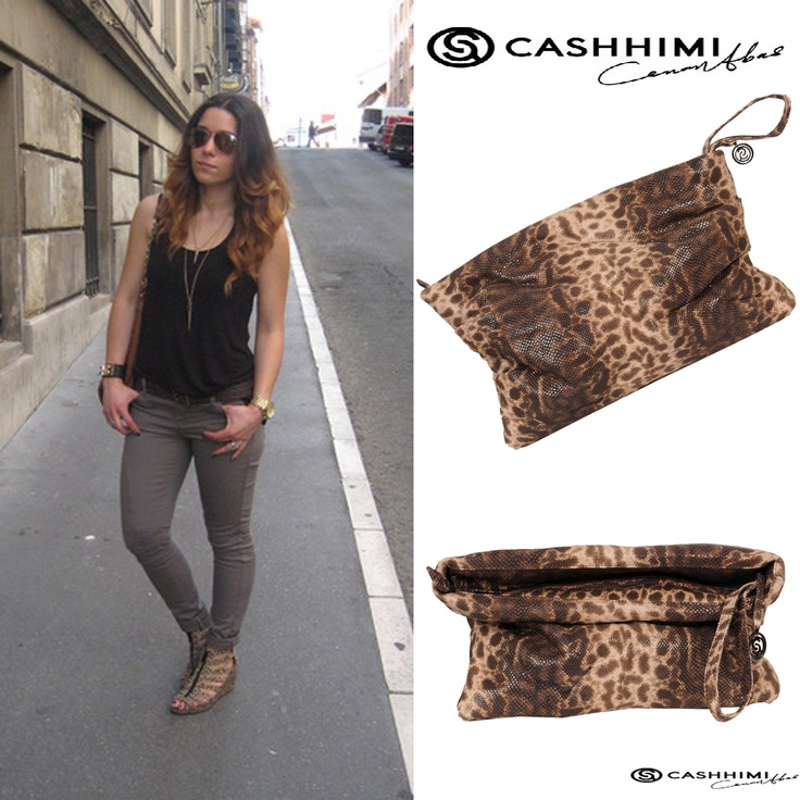 Cashhimi Brown LE DOUX  Leather Clutch