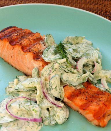Grilled salmon with creamy cucumber-dill salad / www.wildcanadasalmon.com: Creamy Cucumber Dil, Grilled Salmon, Sour Cream, Cucumberdil, Cucumber Dil Salad, Fish Recipes, Grilledsalmon, Cucumber Dill Salad, Greek Yogurt