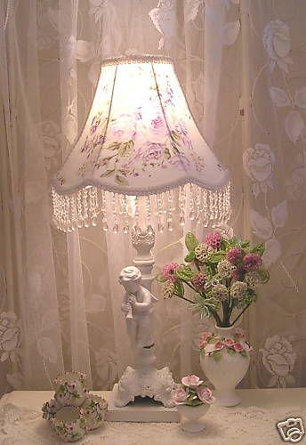 Gorgeous #lavender Roses Beaded #lamp #shade  orders at www shabbyshades.com.on Ebay