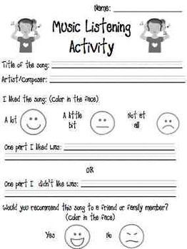 MUSIC LISTENING ACTIVITY WORKSHEET - TeachersPayTeachers.com