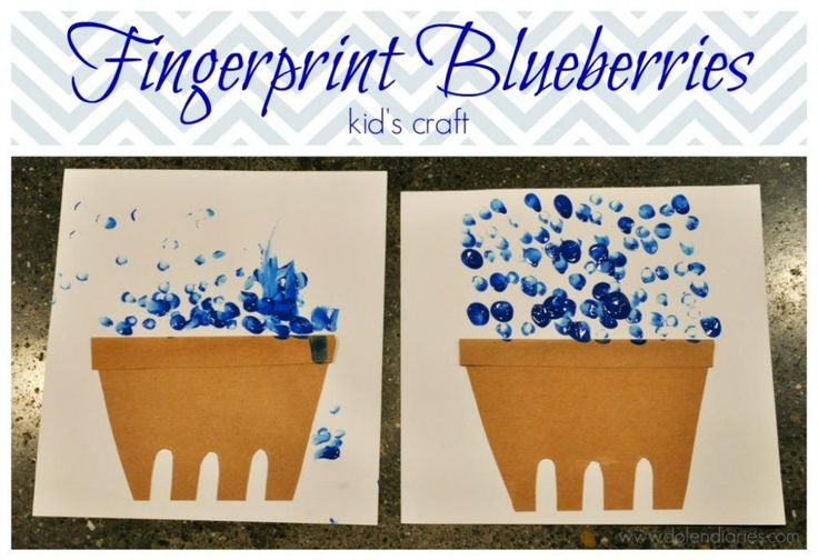 Fingerprint Blueberries are the perfect craft to accompany your blueberry picking adventure or after reading the book Blueberries for Sal.
