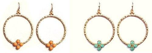 Nassau Goldtone Earrings (Turquiose) Maggie T New York
