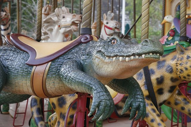 I've seen everything now!  Aren't alligators supposed to be scary?  Audubon Zoo Carousel in New Orleans.
