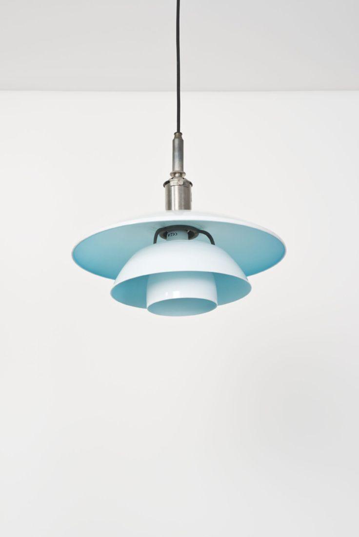 Poul Henningsen; #PH 4.4 Nickel, Enameled Metal and Glass Ceiling Light for Louis Poulsen, 1930.
