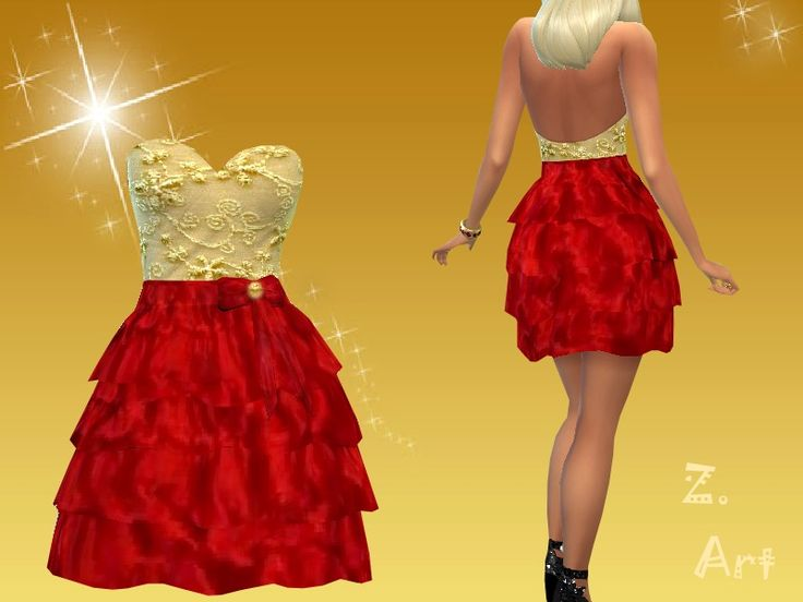 Red and gold for a wonderful christmas dance. Special edition for PC007 :D enjoy  Found in TSR Category 'Sims 4 Female Formal'