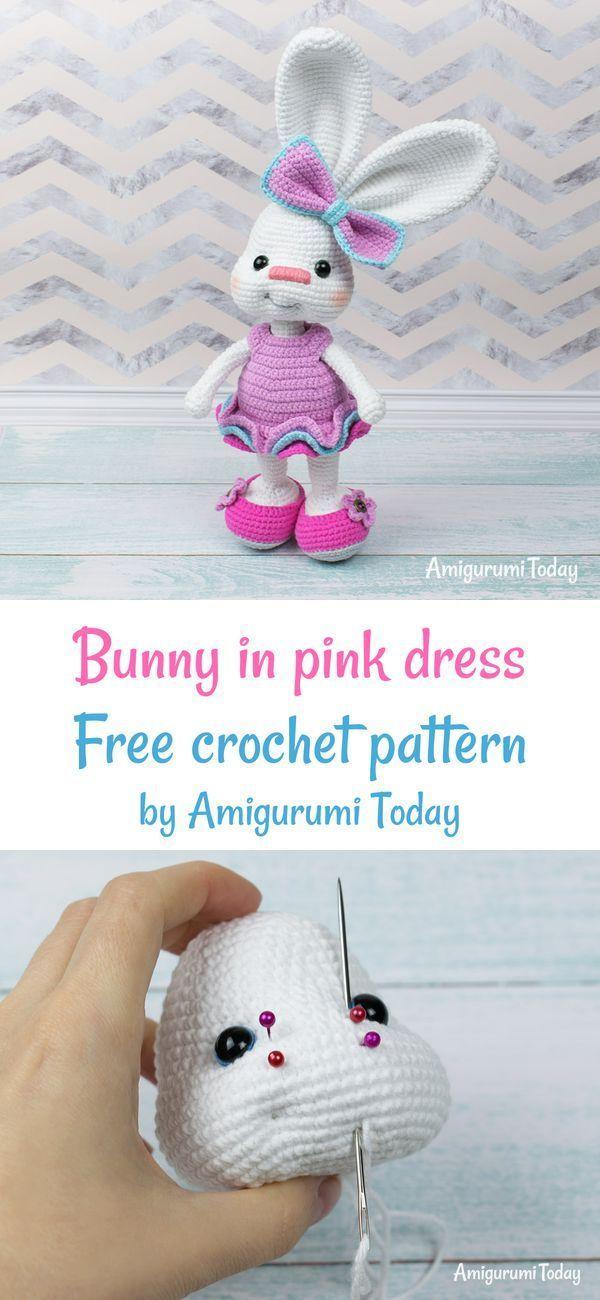 Pretty Bunny with floppy ears - Crochet Pattern - Amigurumi Today | 1300x600