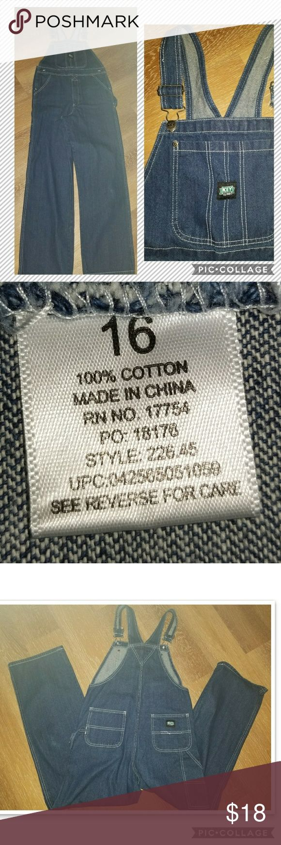 Boy's KEY Denim Overalls Sz 16 Like New, little wear, KEY denim bib overalls.  100% Cotton. Key Bottoms Overalls