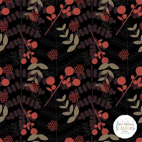 Scattered Autumn Night surface pattern dark background. Claire Salisbury Studios #makeitindesign #winterschool2018