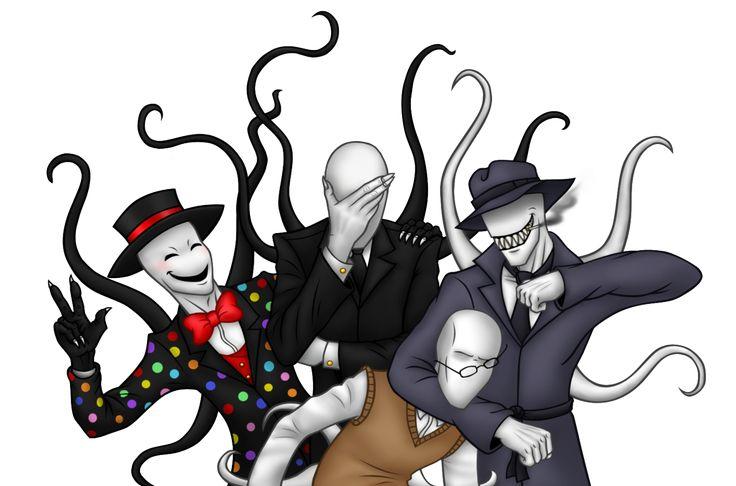 Slender bros by Gothicraft: Slenderman, Trenderman, Splendorman, and Sexual Offenderman